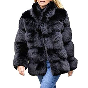 Women Winter Furs Coat Jacket Luxury Faux Fox Fur Coat Slim Long sleeve collar coat Faux Fur Coat Overcoat  2XL Black