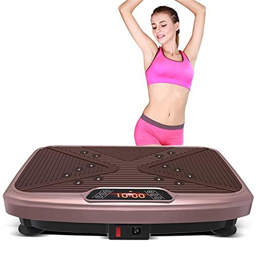 H-XH Plataforma Vibratoria Fitness - Máquina De Ejercicio Y Masajes, 3D Plataformas Vibratorias 4D Entrenamiento En Casa, Color Marrón, Mando A Distancia, 99 Niveles.