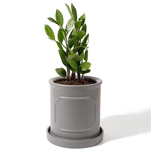 POTEY 050203 Cylinder Ceramic Pots for Plants- 6.2 Inch Grey Planters for Indoor Plants Flower Succulent with Drainage Hole Saucer
