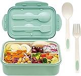 Caja de almuerzo, Caja de Bento con 3 Compartimentos y Cubiertos(Tenedor y Cuchara), Fiambreras Caja...