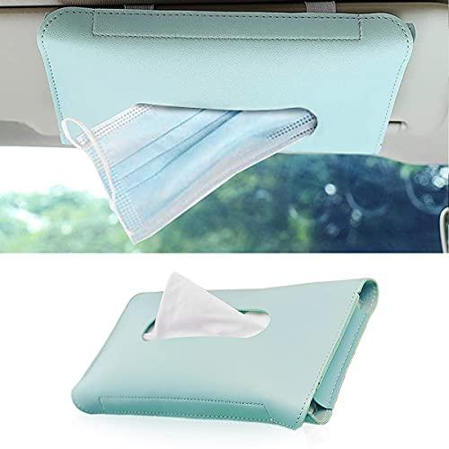 Fekey&JF Car Mask Holder, Sun Visor Napkin Holder, Hanging Paper Towel Case, PU Leather Tissue Box, Car Visor Tissue Paper Storage Cases for Universal Auto