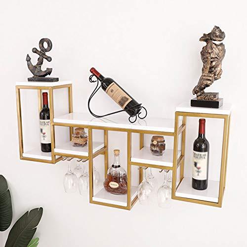 Estante De Vino Estante De Botellas Portabotellas Estante Independiente Colgante De Metal con Soporte De Copa De Vino De Madera De Bambú Decorativo para Sala De Estar O Cocina