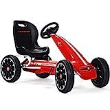 COSTWAY Go Kart para Niños Coche de Pedal con Asiento Ajustable,Freno de Mano y Cambio de Marcha Vehículo Juguete para Niño de 3 a 8 Años (Rojo)
