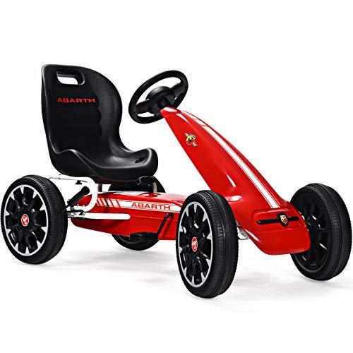 COSTWAY Gokart mit verstellbarem Sitz, Go Cart mit Handbremse und Gangschaltung, Tretauto, Pedal Gokart, Tretfahrzeug, Pedalfahrzeug, Kinderfahrzeug für Kinder von 3-8 Jahren (Rot)