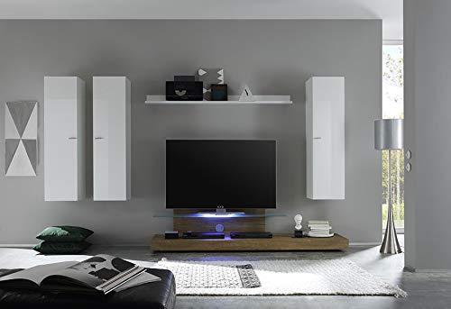Kasalinea Anita - Mueble para televisor (Lacado y Roble, con iluminación LED, opción contemporánea): Amazon.es: Hogar