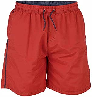 D555 by Duke Kingsize Big Mens Swim Shorts, Full Length Nylon, Elasticated Waist, Red (2XL-6XL)