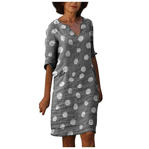 Fcostume Damen Kleid Sommerkleider V-Ausschnitt Freizeitkleider Leinenkleid Blusenkleid Damen Retro Style Print Shirt Baumwolle Und Leinen...