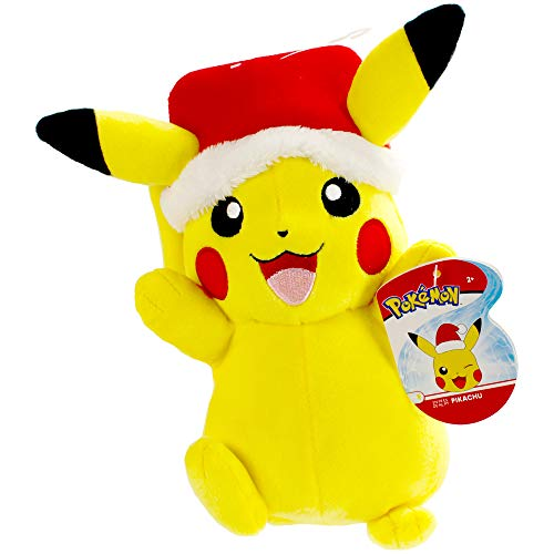 Pokemon Pikachu Holiday Seasonal Plush, 8 Plush Toy, Includes Santa Hat Accessory - Super Soft Plush, Authentic Details - Perfect for Playing, Displaying & Gifting - Gotta Catch 'Em All
