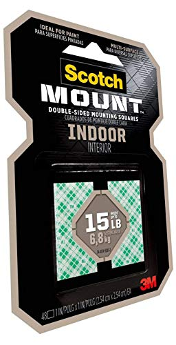 Scotch Indoor Mounting Tape, Holds up to 6 pounds, 1x1 inch, 48 Squares - 3 Pack