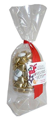 Bonbonnière Joyeux Noel lentilles chocolat 70% de cacao personnalisées Joyeuses fêtes blanc et or - cadeau chocolat de noel