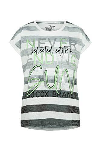 SOCCX Damen Streifenshirt mit Ausbrennern und Artwork