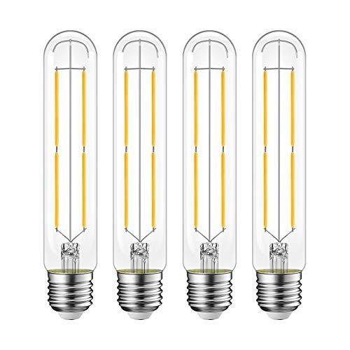 LVWIT T10 Dimmble LED Tubular Bulb 7.7W(60W Equivalent) Vintage Edison LED Filament Lights E26 Medium Base 2700K Warm White, 800LM,Clear Glass Cover,4-Pack
