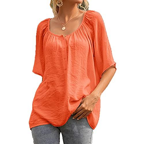 Camisa De Manga Corta De Color SóLido con Cuello Redondo Suelto para Mujer De Primavera Y Verano Camiseta Superior Informal para Mujer