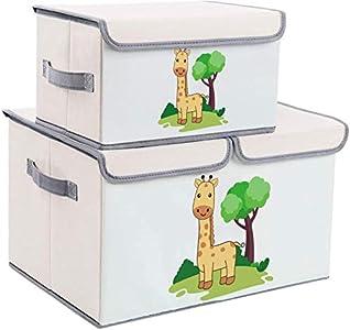 DIMJ Juego de 2 Cajas de Almacenaje Juguetes Plegable, Caja Organizadora de Juguetes con Tapa y Asa, Caja de Tela Patrón Lindo Jirafa para Niños (Beige)