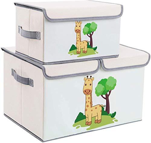 DIMJ Juego de 2 Cajas de Almacenaje Juguetes Plegable, Caja Organizadora de Juguetes con Tapa y Asa,...