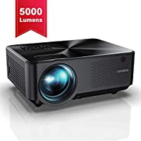Proyector YABER Mini Portátil Proyector Cine en Casa 5000 Lúmenes Resolución Nativa 1280*720p, Vídeo Proyector Con HiFi Altavoces Incorporados, Cubierta de Metal, Soporte HDMI/USB/VGA/AV