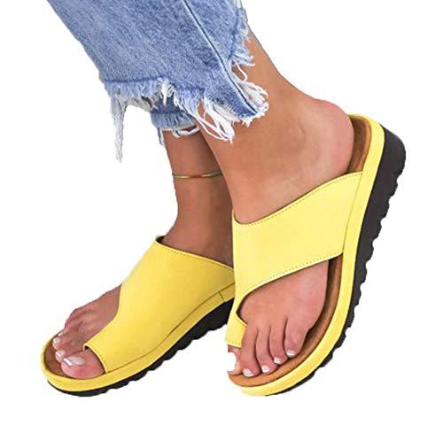 AARDIMI Sandalen Damen Frauen Flip Flops Kreuzband Geflochtene Sandalen Roman Schuhe Sommer Woven Strap Mode Strand Hausschuhe Flacher Anti Rutsch (36 EU, Gelb)