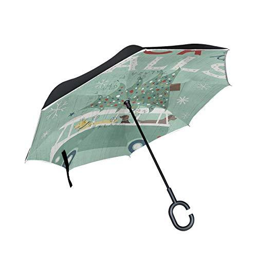 Doppelschichtiger umgekehrter Regenschirm Winddichter Regensonnen-Regenschirm mit Außengriff und C-förmigem Griff - Deck The Halls Animal Bus