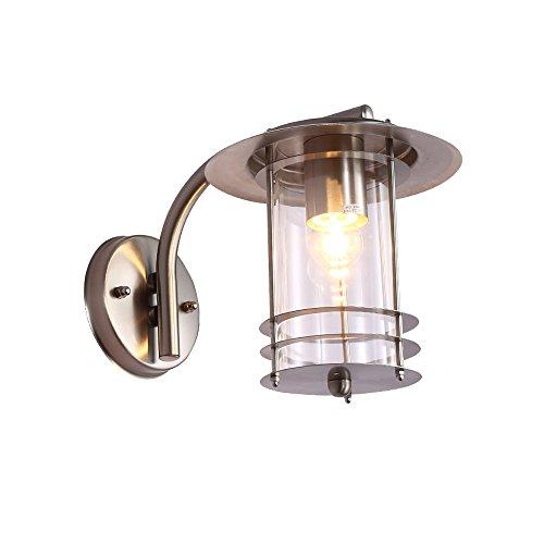 Modern klassisch Design Aussen Wandleuchte edelstahl gebürstet und klarem Schirmen LED-Wandleuchte Wandlampe außen und innen 1-flammig IP44 Außenleuchte Wand-Außenleuchte Gartenlampe E27 Fassung