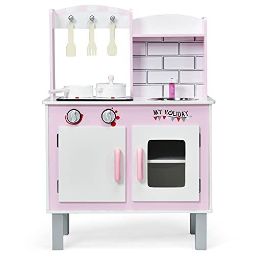 HONEY JOY Play Kitchen for Toddlers, Wooden Kids Kitchen Playset w/Sink, Cupboard & Oven, Cookware Utensils, Stove with Realistic Lights & Sounds, Pretend Play Simulation Cooking Play Set (Pink)