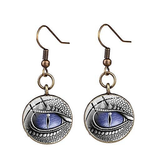 Eye of the Dragon Statement Earrings Lifelike Eyeball Print Glass Cabochon Dangle Earrings Gothic Witch Ear Drop Jewelry