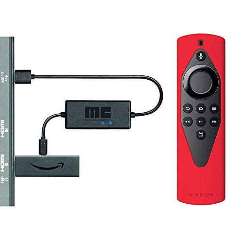 Fire TV Lite Accessory Essentials Bundle including Fire TV Stick Lite, Remote Cover (Red) and USB Power Cable