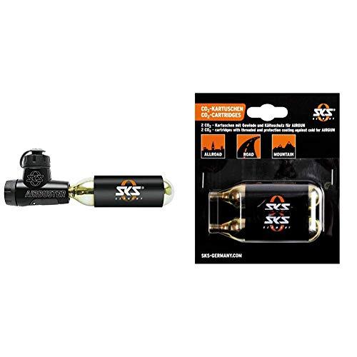 SKS Pumpe AIRBUSTER, Kartuschenpumpe (reversibel), schwarz, 12 x 3 x 3 cm & 9006 CO2 Kartuschen-Set bestehend aus 2 CO2 Kartuschen M-` 16 gr. mit Gewinde