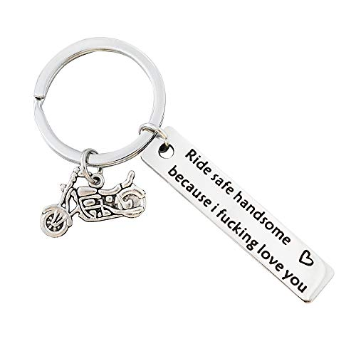 Meiligo Biker Keychain Motorcycle Keychain Ride Safe Handsome Because I Fucking Love You Keychain New Driver Gift Couple Lovers Keychain Valentines Day Birthday Gift for Biker (Ride Safe Keychain)