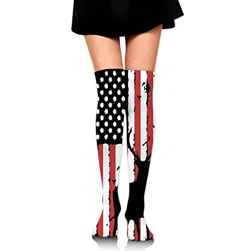 Nice-Guy Caza de ciervos US Flag Womens Sexy Muslo Calcetines altos sobre la rodilla Medias altas