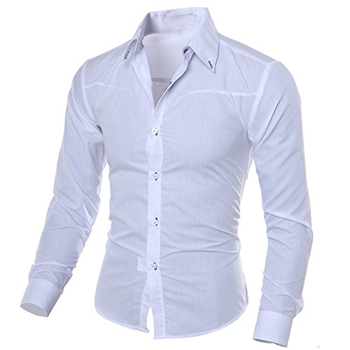 FEISI22 Men's Regular-Fit Long-Sleeve Plaid Shirt Long Sleeved Button-Up Plaid Shirt Casual Regular Fit Shirt White