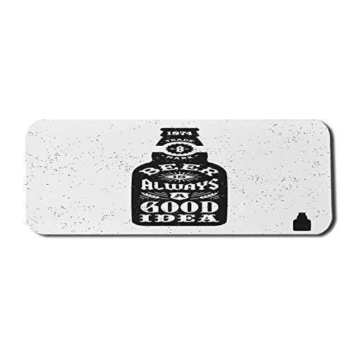 Man Cave Computer Mouse Pad, Bier ist immer eine Idee Typografie Retro Grunge Hipster Old Bottle Print, Rechteck rutschfeste Gummi Mousepad Large Black White