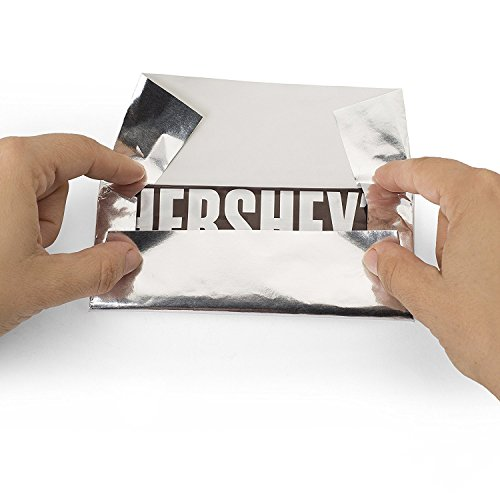 Hershey's Chocolate Bar Silver Foil Wrapper, 6' X 7.5', for Over Wrap The Bar, Pack of 100