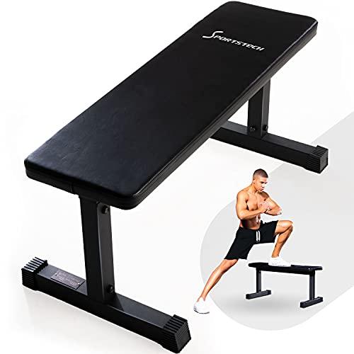 SPORTSTECH Banco de Pesas para tu Gimnasio en Casa | Banco de gimnasio para musculación, entrenamiento de fuerza y levantamiento de pesas | Banco plano adecuado para Multiestación + Power Rack | BRT50