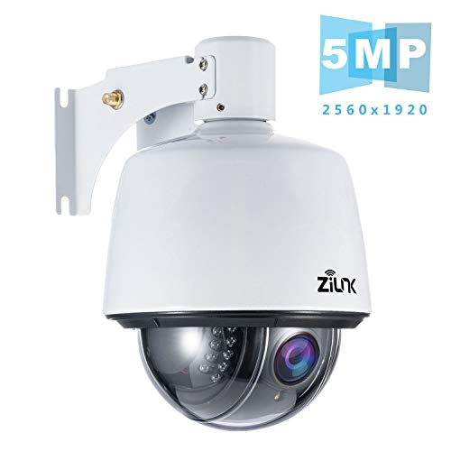 ZILNK 5MP Überwachungskamera Aussen WLAN, 1920P PTZ IP Kamera Outdoor, Außenkamera Dome, 5-facher Optischer Zoom, 30m IR-Nachtsicht, Zwei-Wege-Audio, Wasserfest, Bewegungsmelder, SD-Kartenspeicher