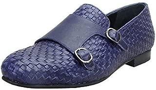 Bareskin Blue Color Hand Weaved Genuine Leather Double Monk Strap Shoes for Men