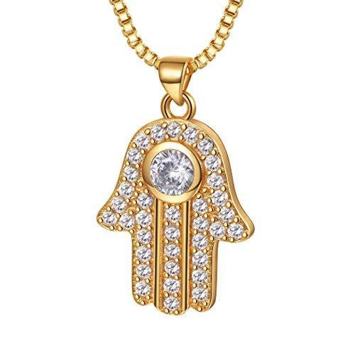 Suplight Damen Collier Hamsa Hand Anhänger Halskette 18K Vergoldet mit Zirkonia Gottes Schutz Symbol Hand der Fatima Arabische Islamische Amulett Schmuck Geschenkidee für Frauen Mädchen