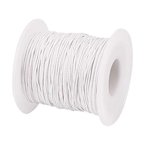 PandaHall Cuerda de algodón encerado de 1 mm, para pulseras, collares, joyas, suministros de macramé, color blanco
