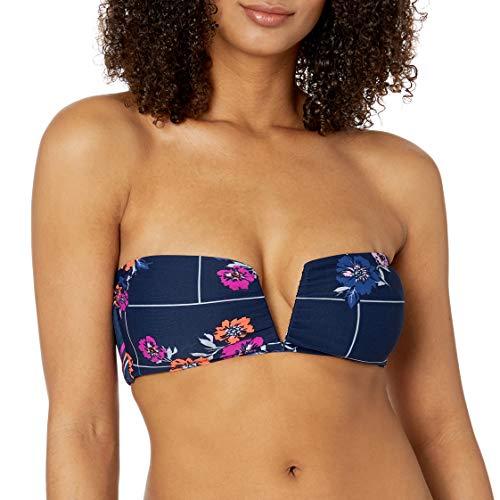 Maaji Women's Reversible V Wire Bandeau Bikini Top Swimsuit, Glowing Flicker Ink Blue Floral, Medium
