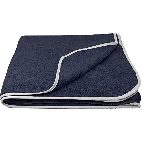 HOMELEVEL - Toalla de rizo XXL para parejas y familias, en 3 tamaños, 100 % algodón, para baño, tumbarse, playa, algodón, azul marino, 150 x 200cm