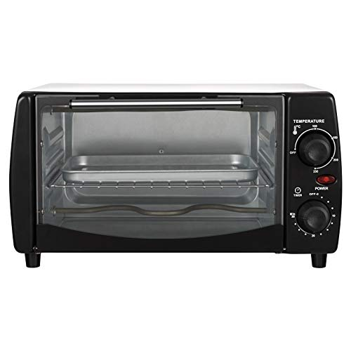 WOLTU BF10wsz Mini Backofen 12 Liter, 800 Watt Toasterofen | Pizzaofen | Krümelblech mit Timer Minibackofen für Pizza, Toast, Truthahn, Hot Dogs Weiß+Schwarz