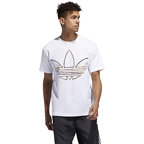adidas Men's Badge of Sport Graphic Tee (White/Watercolor, Large)