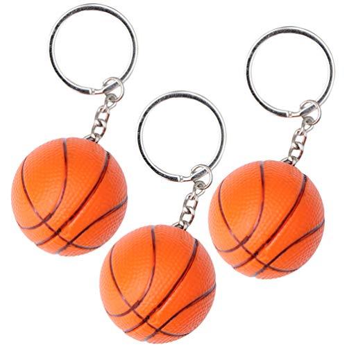 VOSAREA 3 Stück Basketball Schlüsselbund Sport Schlüsselring Souvenir Auto Schlüsselbund Anhänger Mini Tasche Geldbörse Charme für Basketball Sport Liebhaber Kinder Geschenke Orange