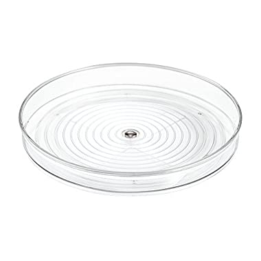 InterDesign Linus Lazy Susan Cabinet Turntable - Organizer Tray for Kitchen Pantry or Countertops - 9 , Clear