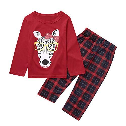 CLOOM 2 Piezas Pijamas de Navidad Familia Conjunto Pantalon y Top Pijamas Mujer Niños Niña Ropa de Dormir para Bebés Mamá Homewear Christmas Ropa de Casa Invierno