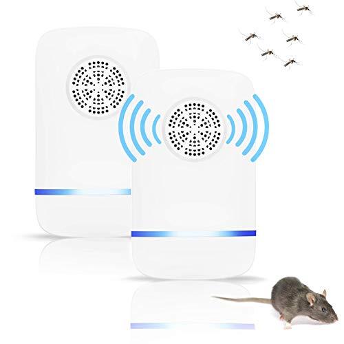 Ventdest Repellente ad Ultrasuoni, Repellente Ultrasuoni Anti Zanzare Dispositivi Antizanzare Insetti Ragni Topi Mosche Parassiti Ratti Scarafaggi Formiche, 2 Pack