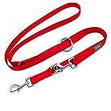 DDOXX Hundeleine Nylon, 3fach verstellbar, 2m   für kleine & große Hunde   Doppel-Leine Zwei Hund Katze Welpe   Schlepp-Leine groß   Führ-Leine klein   Lauf-Leine Welpen-Leine   XS, Rot