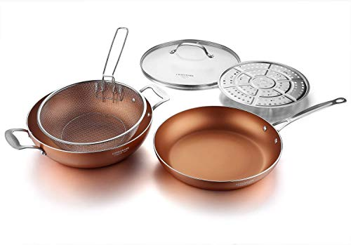 12-Inch Nonstick Induction Copper Pan with Lid, Fry Basket and Steamer Rack 5-Piece, Dishwasher Safe Frying Pan Set