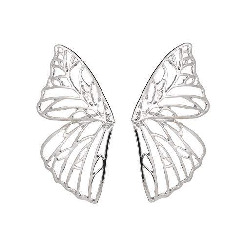 Joyería simple de moda para mujer, pendientes exagerados de ala de mariposa hueca, pendientes creativos en forma de abanico, clips para orejas.