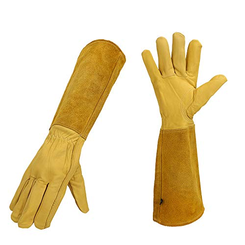 Goatskin Rose Pruning Gloves for Women & Men, Thorn Proof Long-sleeve Gardening Gloves, Cut Proof Professional Protective Leather Garden Gauntlet, Flexible and Wear-resistant(Brown)