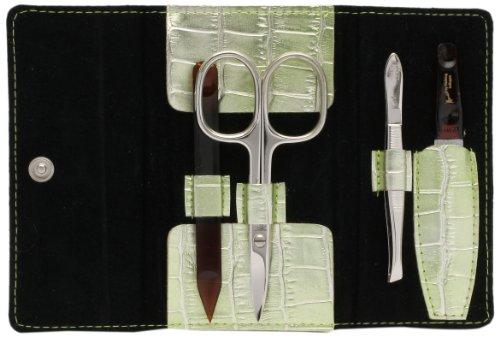 Manart by Pfeilring Trousse de manucure 4 pièces Nickel/plastique Aspect peau de crocodile Vert clair métallisé